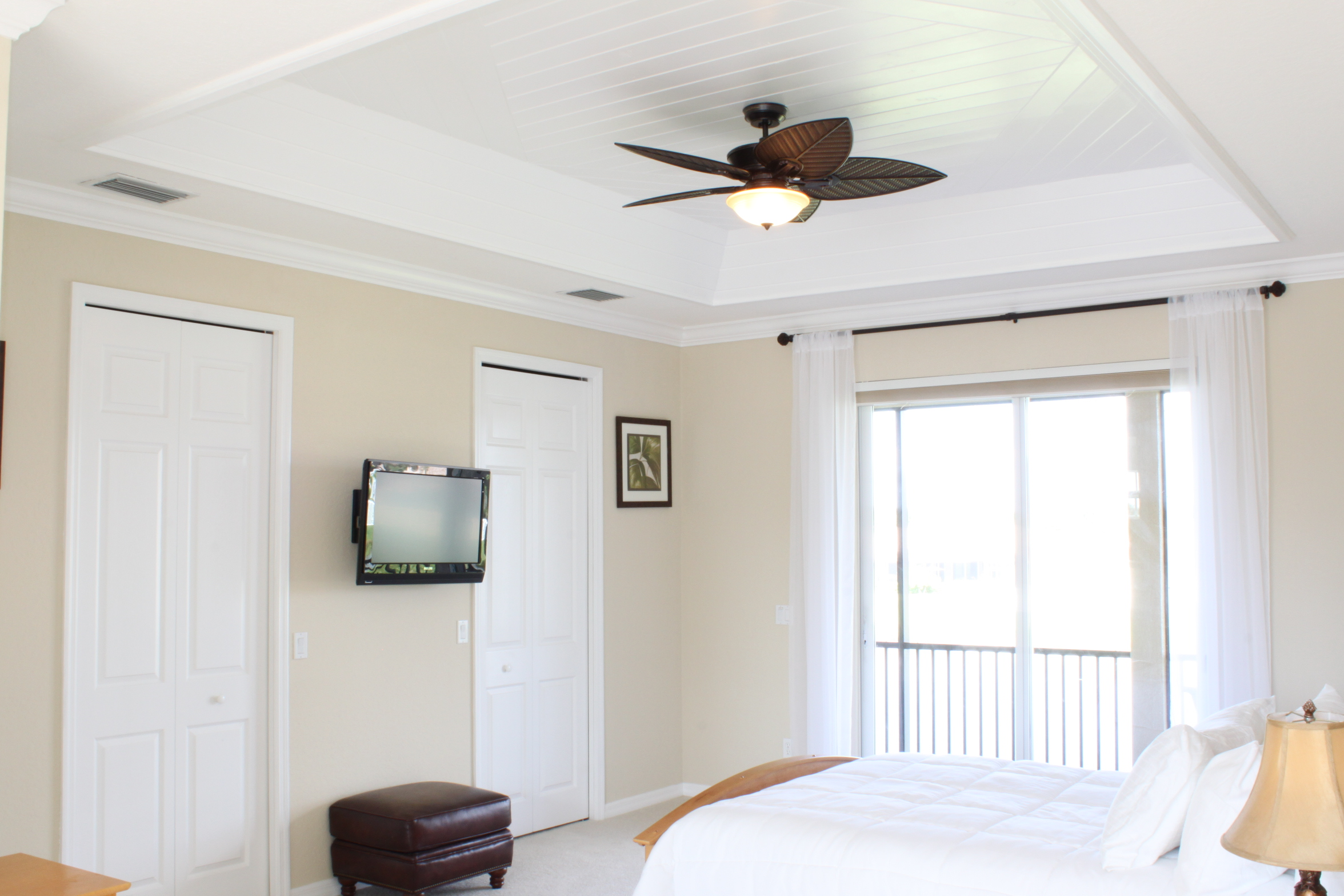 Custom Wood Ceiling, Wall mounted TV,