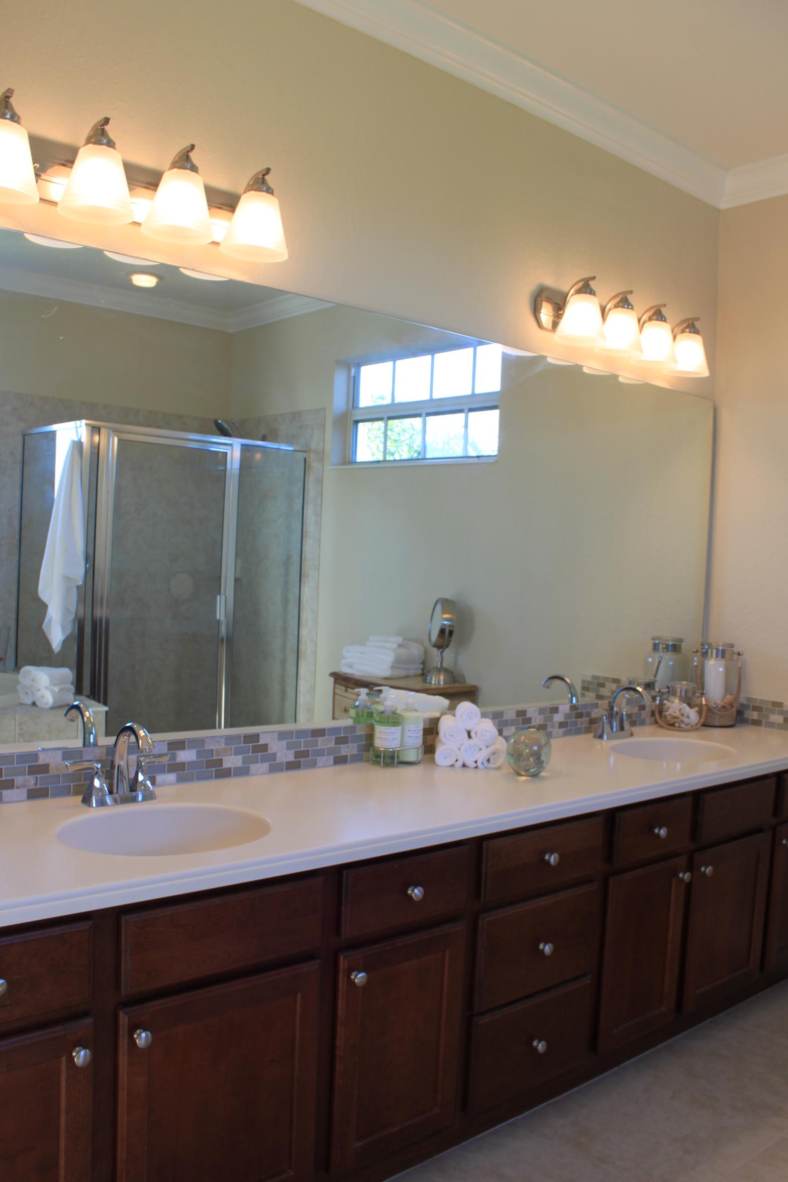 Tiled Backsplash on Bathroom Vanity
